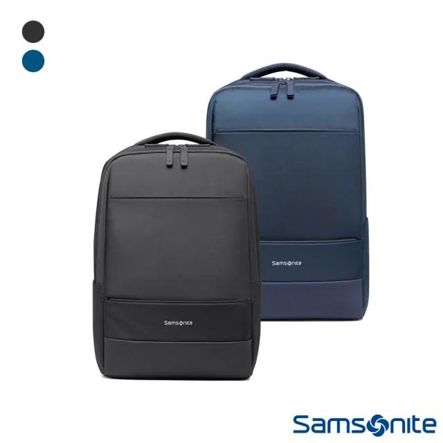 【Samsonite 新秀麗】CAPER防潑耐磨商務大容量筆電後背包 14(黑&海軍藍)