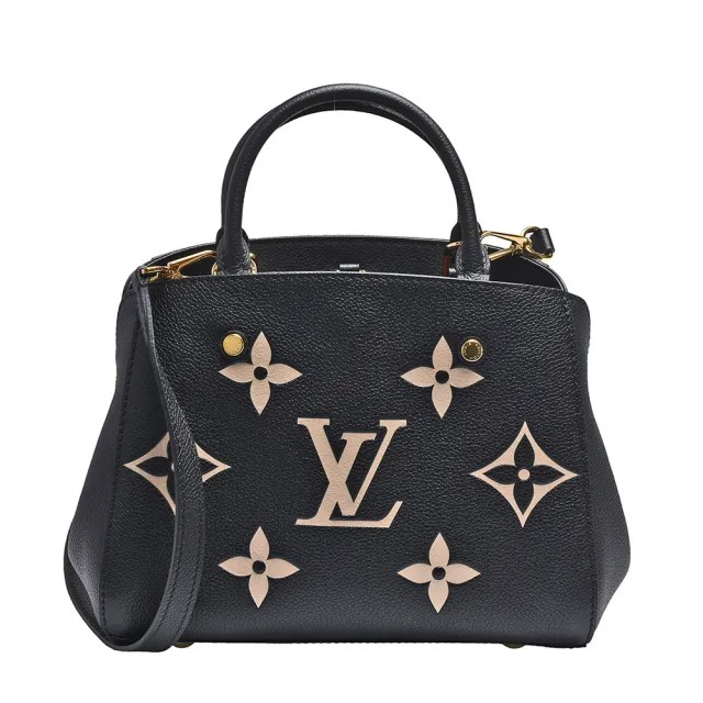 【Louis Vuitton 路易威登】M45778 MONTAIGNE BB粒面牛皮手提/斜背包(黑)
