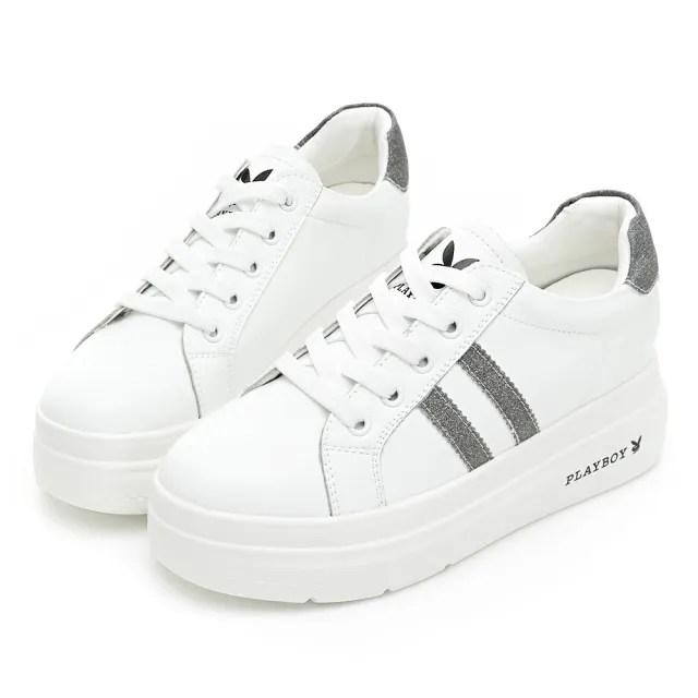【PLAYBOY】經典皮革 輕量厚底小白鞋-白銀-Y68001E