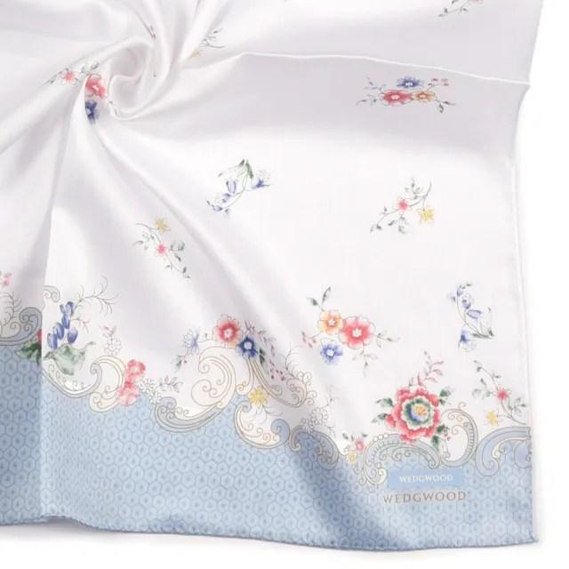 【WEDGWOOD】Rococo Flowers洛可可花系列純綿帕巾領巾(粉藍色)
