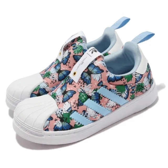 【adidas 愛迪達】休閒鞋 Superstar 360 C 中童鞋 愛迪達 免鞋帶 套腳 蝴蝶 粉 白(H03233)