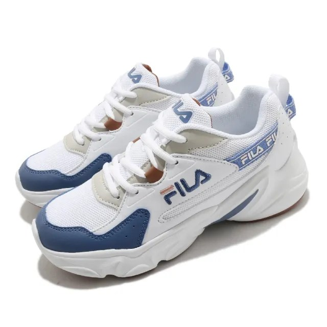 【FILA】休閒鞋 Hidden Tape2 厚底 女鞋 斐樂 老爹鞋 穿搭推薦 復古慢跑鞋 白 藍(5J329V133)