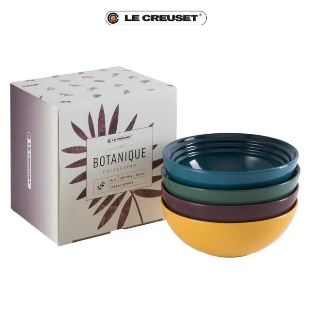 【Le Creuset】瓷器綠境花園系列早餐穀片碗16cm4入組(湖水藍/綠光森林/無花果/杏桃黃)