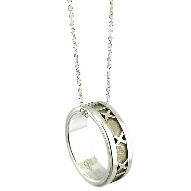 【Tiffany&Co. 蒂芙尼】925純銀Altas寬版羅馬數字戒環項鍊
