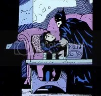 batman pizza tv couch woman