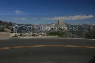 The road to Glacier Point with Half Dome in the background, Yosemite National Park, California