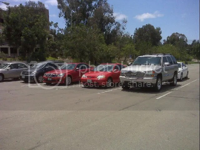 Students Cars all in a Row
