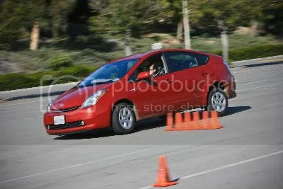 The Prius handles so poorly that we dont allow them to go faster than 30mph on our course fo the safety of the student