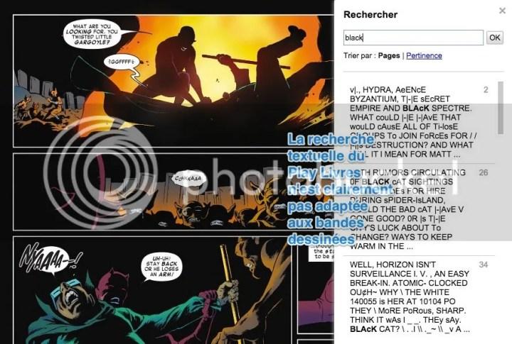 La recherche textuelle du Play Livres n'est clairement pas adaptée aux bandes dessinées