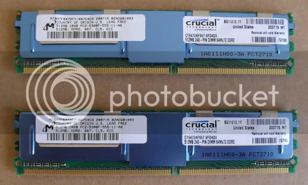 CRUCIAL 1GB 2X512MB DDR2 PC2 5300F ECC REG SERVER RAM