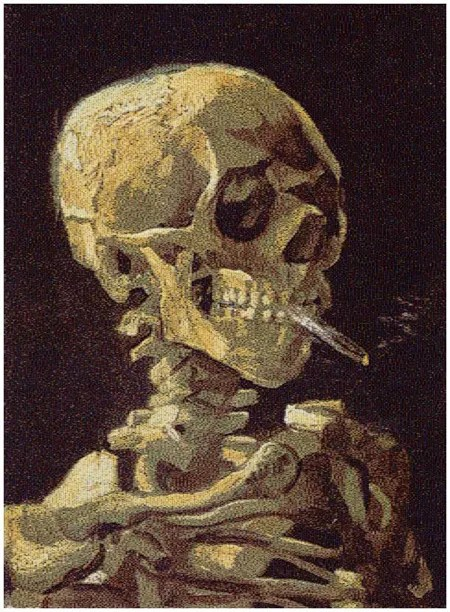 Skull with Cigarette by Chris Jordan