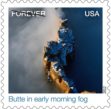 Butte in Early Morning Fog