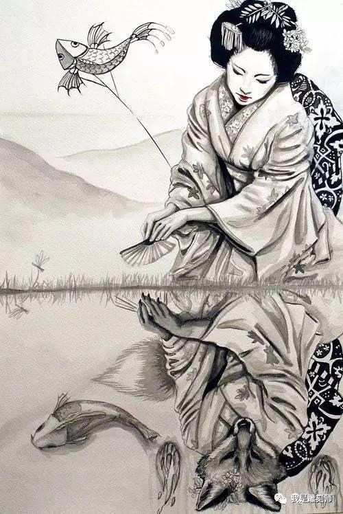 我是雕刻師=素描手稿:藝妓紋身雕刻素材 - 壹讀
