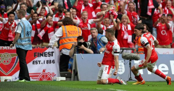 Welshman Aaron Ramsey scores the winner for Arsenal in the ...