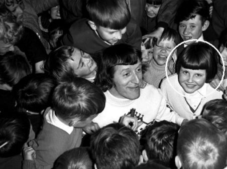 Jimmy Savile in Aberfan in 1967 with survivors including Christine Williams, circled. There is no suggestion the dead DJ abused anyone in our pictures.