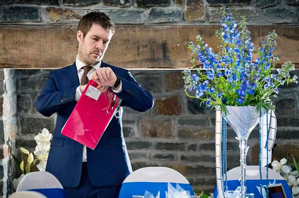 Rhod Gilbert checks Gareth and Samantha's wedding is running on schedule