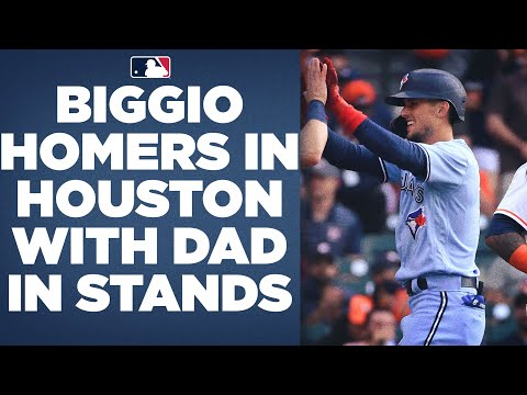 Cavan Biggio homers in Houston with dad, Craig (Astros Hall of Famer), in the stands!