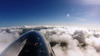 Flying in clouds. Calidus gyrocopter