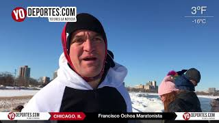 Francisco Ochoa cumple tradición del baño helado en Chicago Polar Plunge