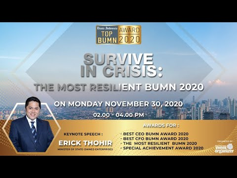 """Bisnis Indonesia Top BUMN Award 2020 - """"Survive in Cisis: The Most Resilient BUMN 2020"""""""