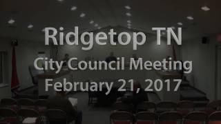 Ridgetop TN City Council Meeting 2-21-17