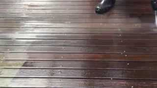 Tinber deck restoration in action, watch how the pros do it.  Very powerful machine to do this