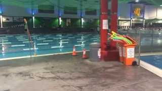 Pressure cleaning the floor of an aquatic centre  The hot water also sanitizers the floor