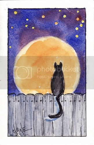 Harvest Moon Kitty - watercolor