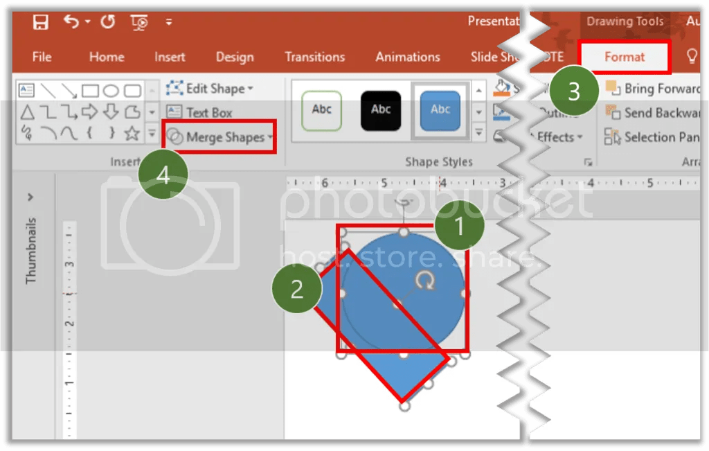 Figure 2. How to get into Merge Shapes tool interface.