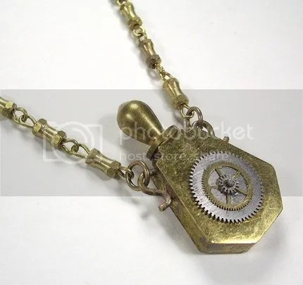 Steampunk Necklace - Brass GEARS Perfume Bottle Pendant Steampunk Jewelry by edmdesigns