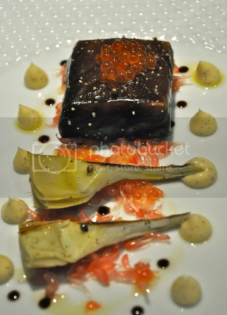salmon poached in liquorice gel