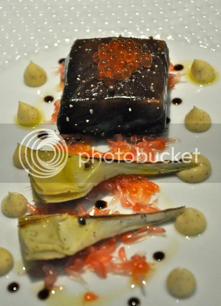 salmon poached in liquorice gel