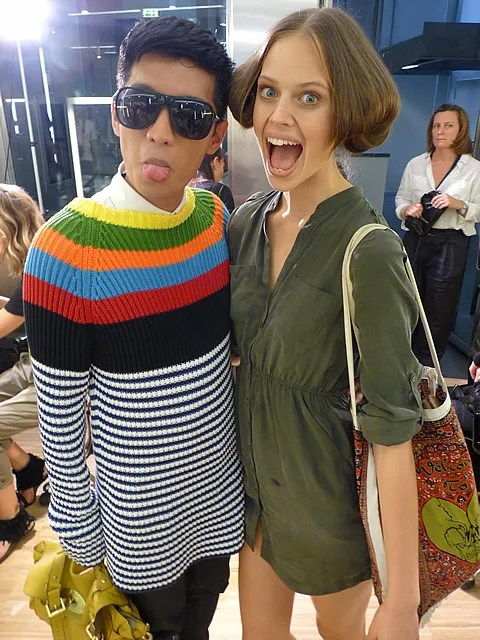 image of Bryanboy and Jessica Clarke backstage at D&G Spring Summer 2011