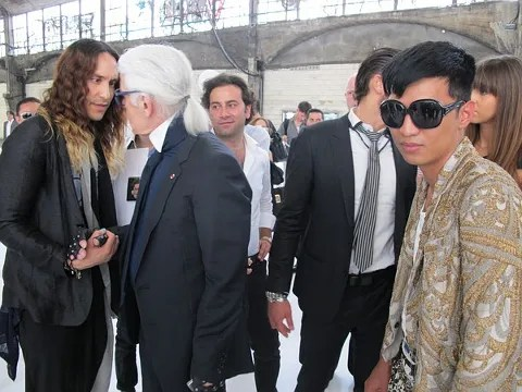 Karl Lagerfeld and Bryanboy at Dior Homme