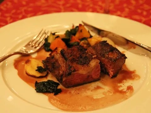 Lamb Sirloin at laMeritage Restaurant Boston