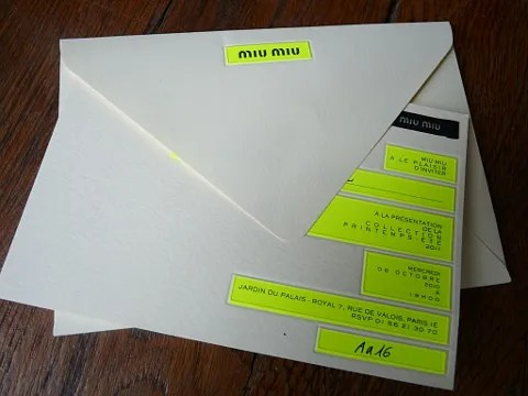 Miu Miu Spring Summer 2011 Fashion Show Invitation