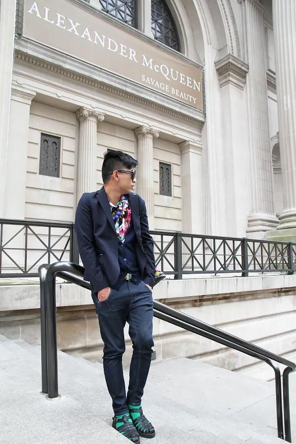 Bryanboy outside the Metropolitan Museum of Art featuring the Alexander McQueen Savage Beauty exhibit