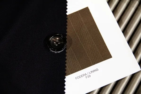 Giorgio Armani suit fabric, lining and button