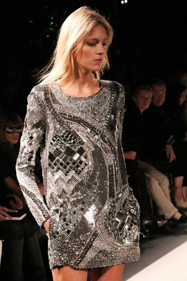 Anja Rubik wearing a dress from Balmain's fall winter 2011 collection.