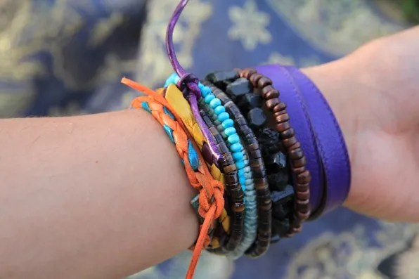 Bryanboy's colorful beaded and leather bracelets.
