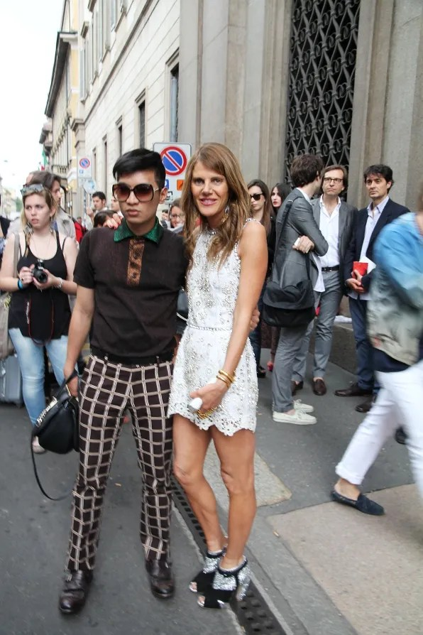 Anna Dello Russo and Bryanboy outside Burberry Spring Summer 2012 Menswear show