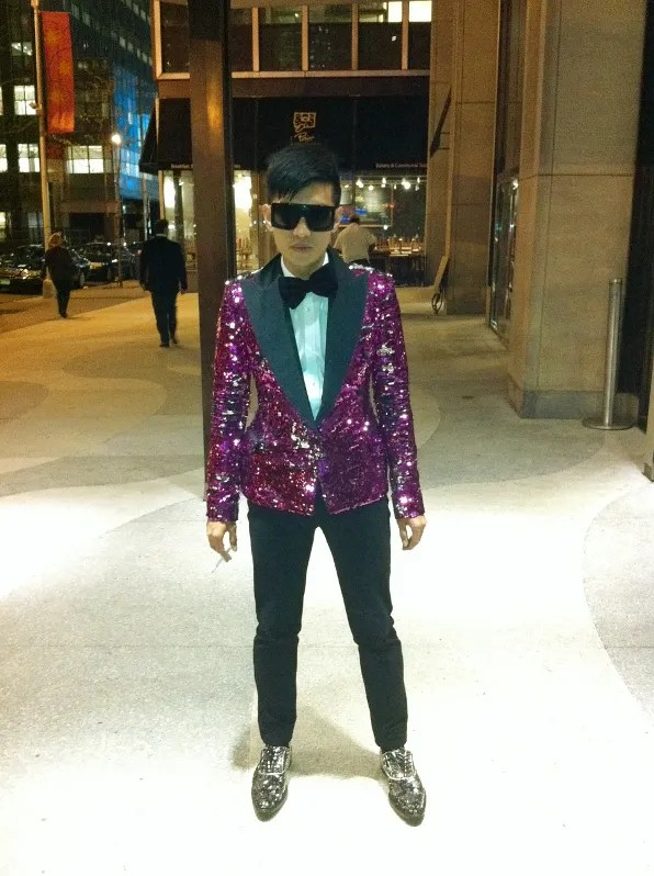 Bryanboy in Dolce & Gabbana outside the Time Warner building