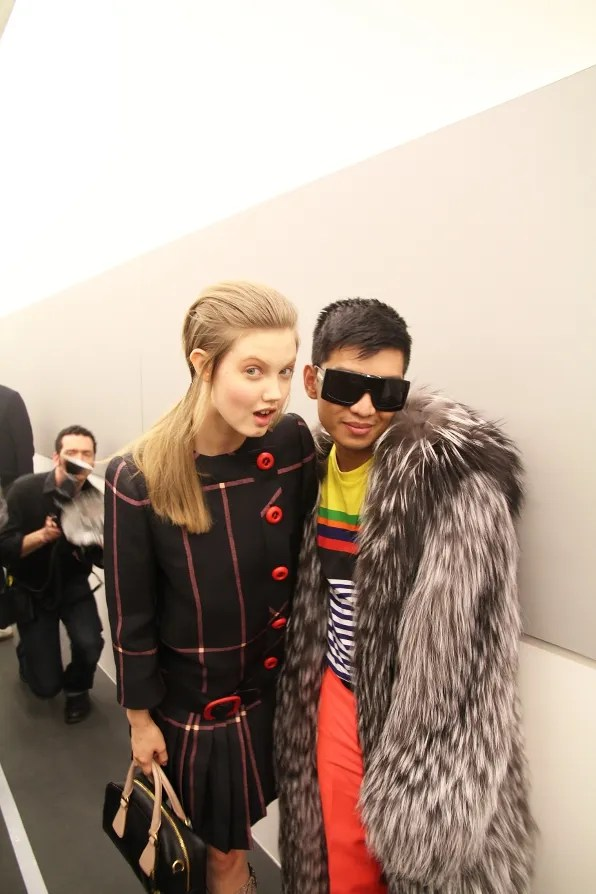 Bryanboy and Lindsey Wixson at Prada autumn winter 2011 2012 fashion show
