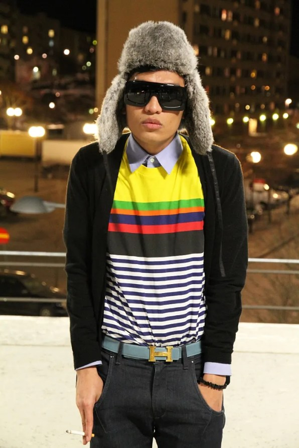 Bryanboy wearing a Prada striped t-shirt.