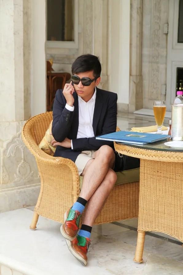 Bryanboy at Verandah Cafe Rambagh Palace Jaipur