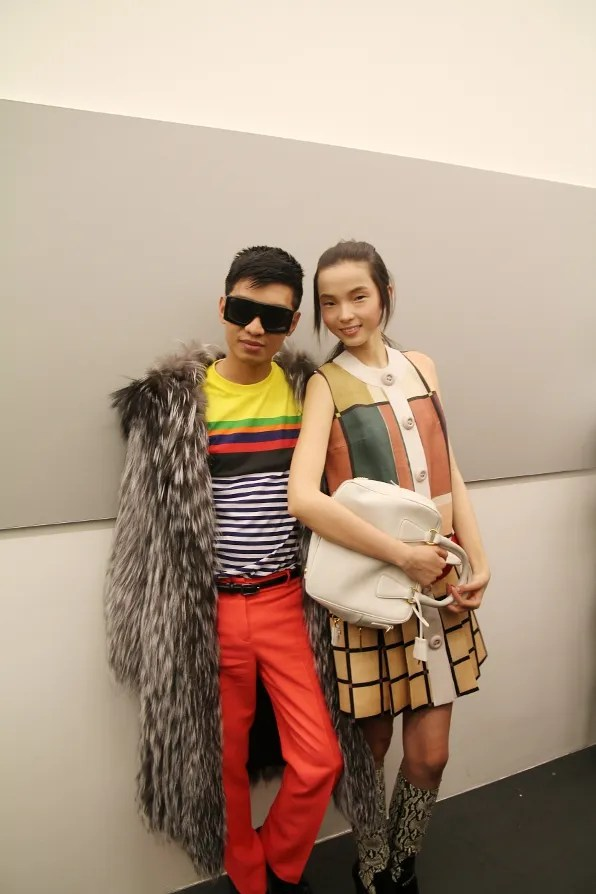 Bryanboy and Xiao Wen Ju backstage at Prada fall winter 2011 fashion show