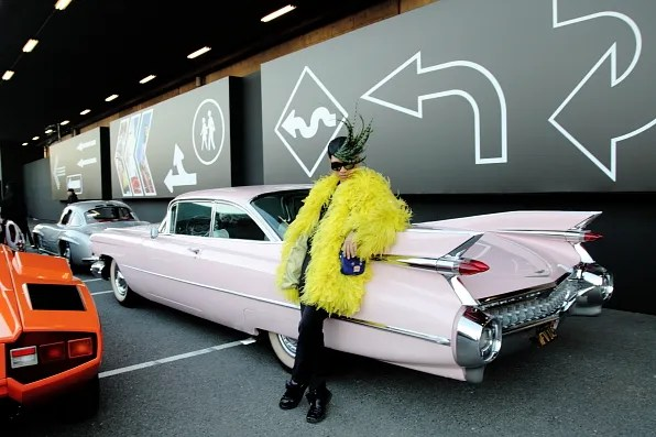 Pink vintage cadillac car
