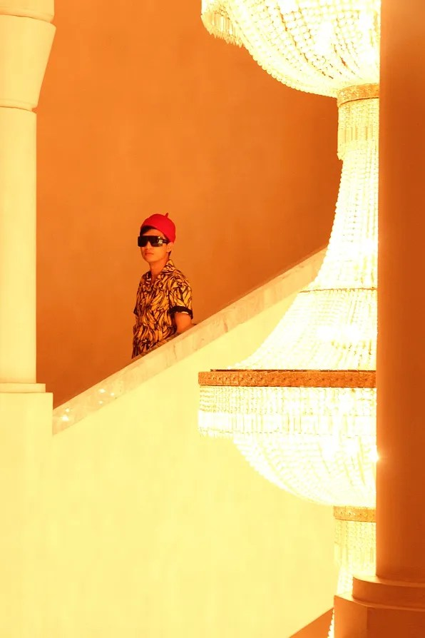 Bryanboy walking down the stairs at Marrakech Congress Palace