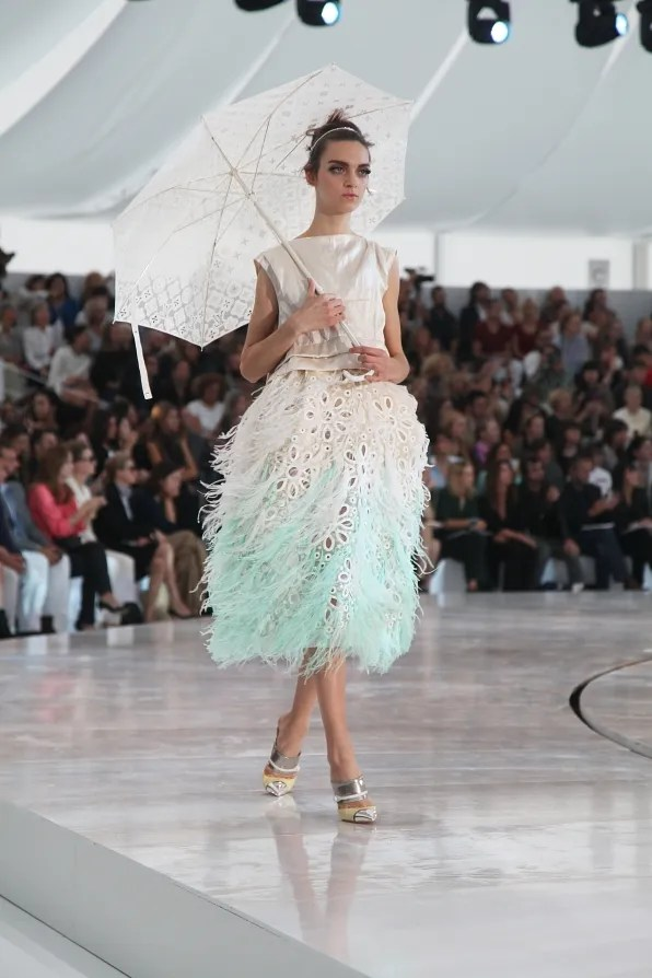 Feather and lace skirt at Louis Vuitton spring summer 2012
