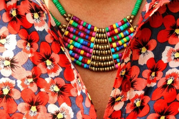 Green beaded necklace from a market stall in New Delhi